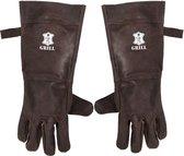 BBQ Leren Handschoenen Donker Bruin | Barbecue Lederen Handschoen | Hittebestendige BBQ & Oven handschoenen – Extra groot voor betere bescherming | Gevoerd |