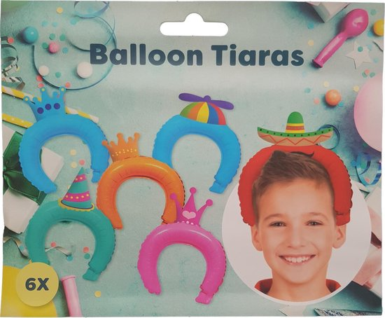 "Ballon tiaras 6 stuks ""Hoedjes"""