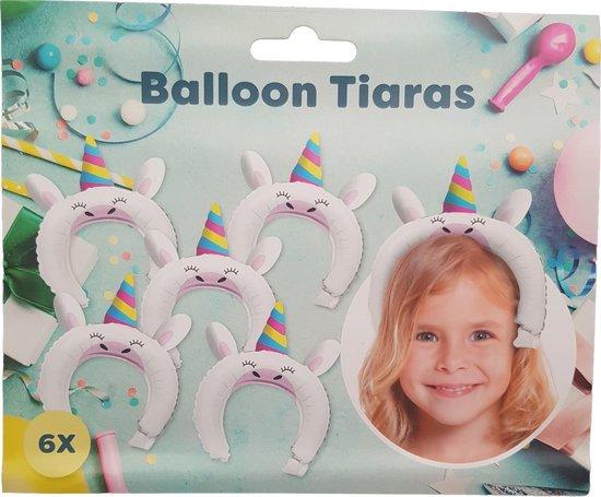 """Ballon tiaras 6 stuks """"Eenhoorn"""""""