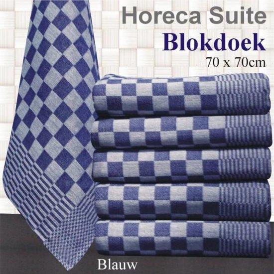 Theedoek Blauw blok 70x70 (per 6 stuks) 70x70