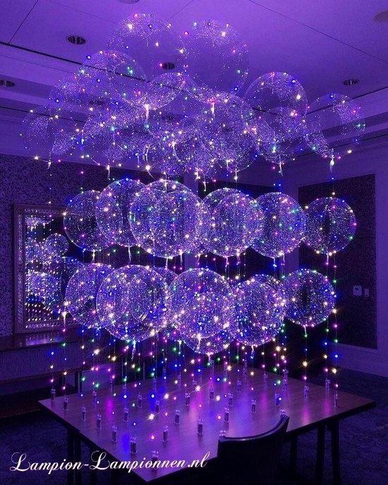 Lampion-Lampionnen LED Ballon XL verlicht 60 cm XXL - 4 stuks - met Helium tank