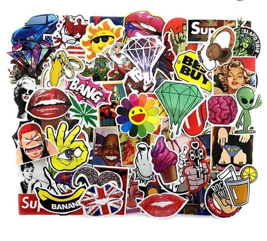 Random sticker mix met 50 verschillende stickers - voor laptop, skateboard, helm, etc.