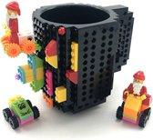 Lego Mok/ Build-on brick mug - zwart - 350 ml - bouw je eigen mok met bouwsteentjes - BPA vrije drinkbeker cadeau voor kinderen of volwassenen - koffie thee limonade of andere dranken - pennenbeker - creatief accessoire voor op bureau - HnD