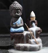 Backflow wierook brander / houder waterval blauwe keramiek monnik  Boeddha