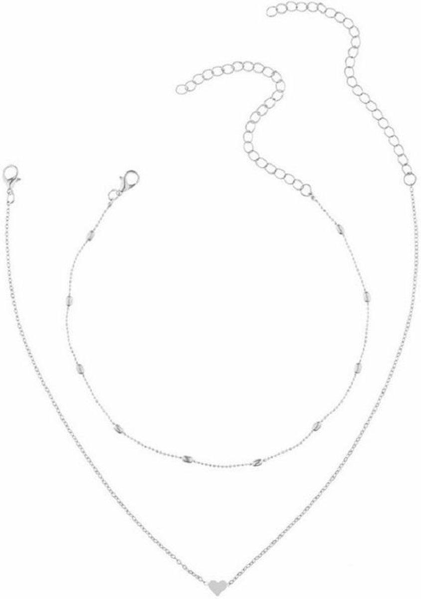 201 - Zilverkleurige ketting 2-delig - ketting met hartje - ketting met choker bullets - ketting met choker balletjes - GELEVERD IN GESCHENKVERPAKKING - Tibri -