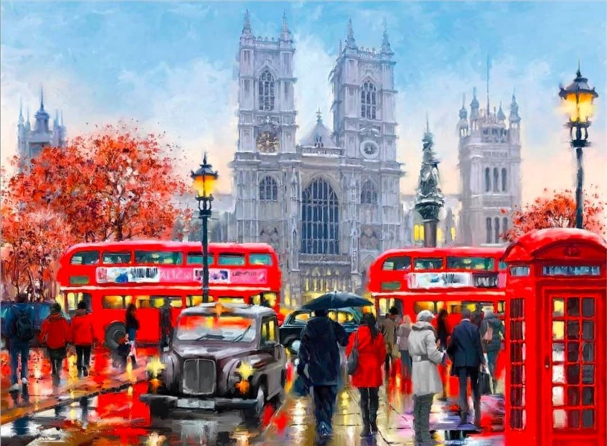 Schilderen Op Nummer - Painting By Number - Kleuren Op Nummer - Hobby - 40x50cm - Londen - Ayana's®