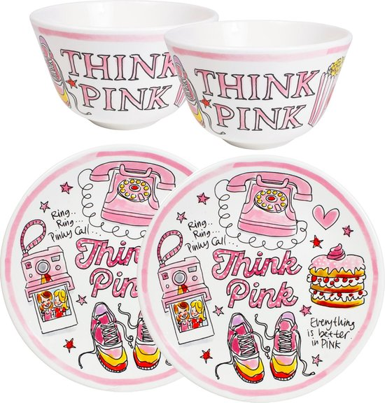 Blond Amsterdam - Pink Days Set - 2x Bord, 22 cm - 2x kom, 14 cm