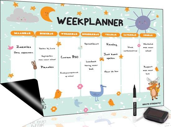 Afbeelding van Magnetisch Weekplanner whiteboard (11) - A3 - Planbord - Dagplanner kind  - To Do Planner kinderen