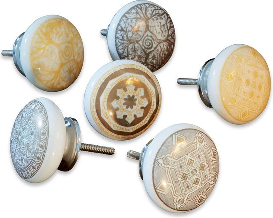 LOBERON Kastknoppen set van 6 Tuffé grijs/goudkleurig