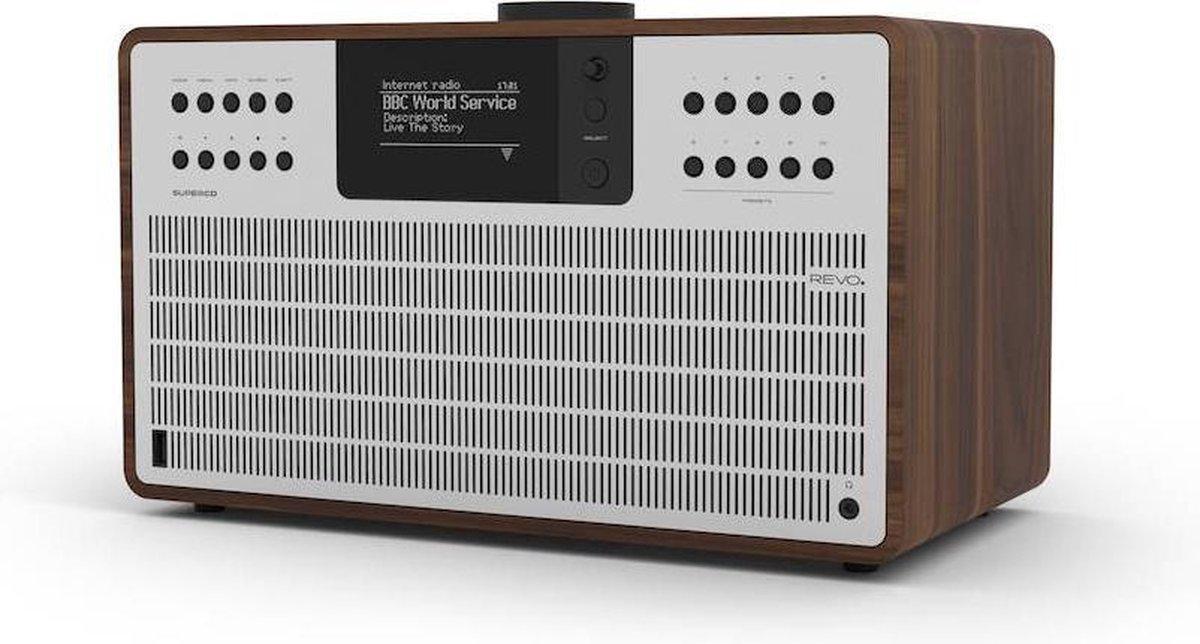 Revo SuperCD - Walnoot/Zilver   CD-speler - Dab Radio - Internetradio - USB - Bluetooth AptX