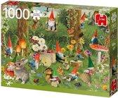 Afbeelding van Rien Poortvliet Kabouters aan de Bosrand Jumbo Premium Quality Puzzel 1000 Stukjes