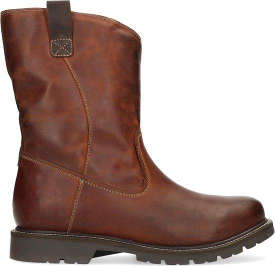 Sacha - Heren - Bruine leren hoge boots met imitatiebont - Maat 42