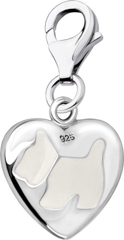 Quiges - 925 Zilver Charm Bedel Hanger 3D Hartje met Hond - HC340