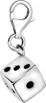 Quiges - Charm Bedel Hanger 3D Dobbelsteen - Dames - zilverkleurig - QHC013