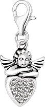 Quiges - Charm Bedel Hanger 3D Engel op Zirkonia Hart - Dames - zilverkleurig - QHC077