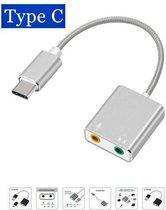 USB-C / Type-C naar Jack 3.5mm koptelefoon microfoon geluid kaart ZILVER - USB C audio adapter KLEUR ZILVER