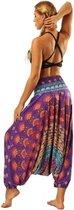 yoga pants loose women high waist Women Summer Loose Yoga Trousers Baggy Boho Jumpsuit Harem Pants gym Colorful Mandala Paars
