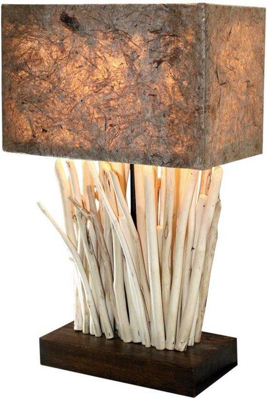 Landelijke houten lamp met houten lampenvoet Mike Wood Tafellamp Bruine lampenkap