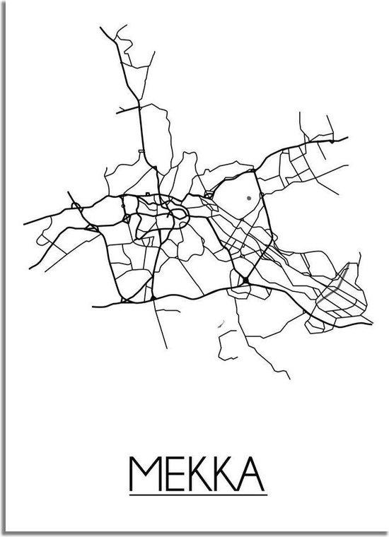 DesignClaud Mekka Plattegrond poster A4 + Fotolijst wit