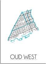 Plattegrond Oud West Amsterdam Stadskaart poster DesignClaud - Wit - A4 + fotolijst wit