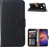 Wallet Book Case Motorola Moto E6 Play Hoesje Zwart met Pasjeshouder