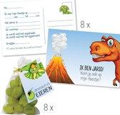 """Verjaardag uitnodigingen dino – uitnodigingskaarten dinosaurus – traktatiezakjes """"dino eieren"""" – verjaardagsfeest jongen 8 personen"""