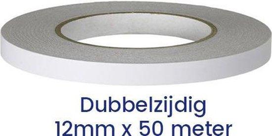 Dubbelzijdig tape, plakband, 12mm x 50 meter, transparant, afscheurbaar, 1 rol