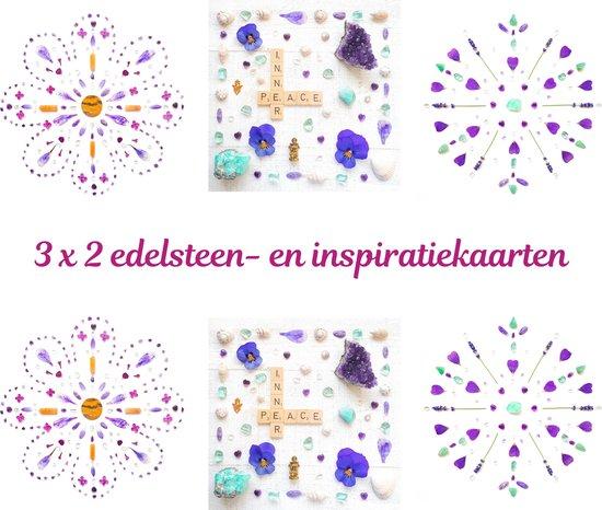 Edelsteen- en inspiratiekaarten   6 stuks   14,7 x 14,7 cm   set 4