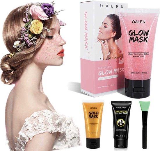Oalen gezichtsmaskers set incl. gratis aanbreng applicator   Peel off masker - houtskool   glitter   goud beautyset   complete gezichts behandelingset   voor een prachtige huid   Verjaardag   Cadeauset