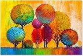Bomen Landschap - Kleurrijk - Schilderij op Canvas