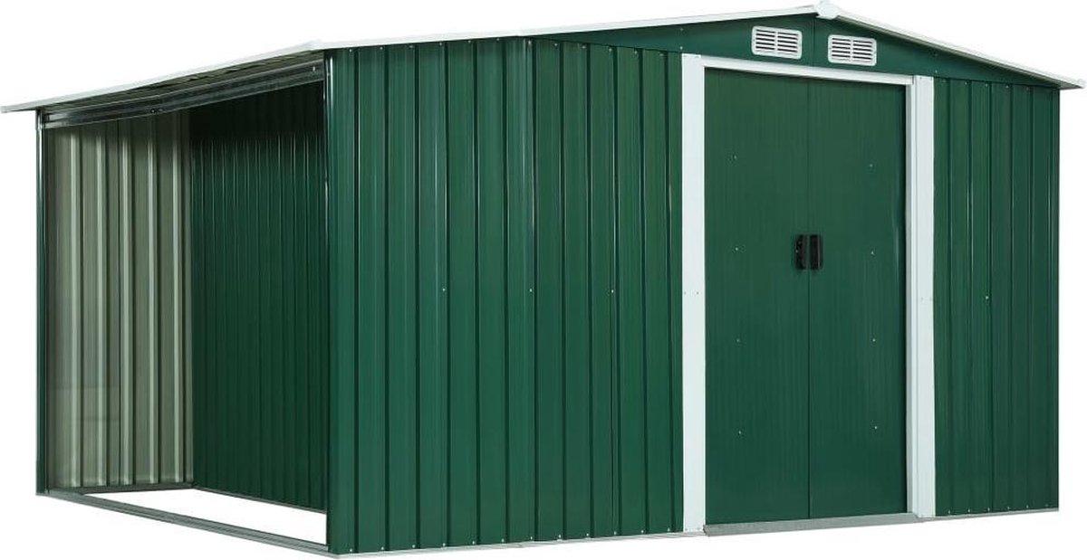 VidaXL Tuinschuur met schuifdeuren 329,5x205x178 cm staal groen online kopen