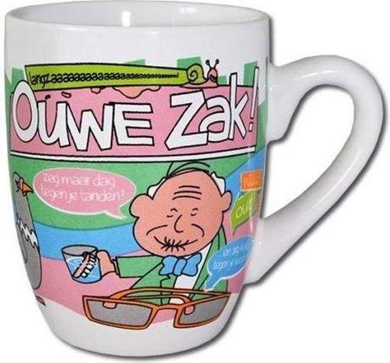 Mok - Cartoon Mok - Ouwe zak - Gevuld met droplullen - In cadeauverpakking met gekleurd lint