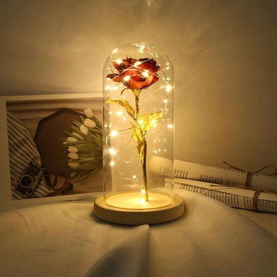 Beauty and the Beast roos - goud met rode roos in glazen stolp