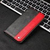 Lederen Telefoonhoesje Book Case Samsung S10 Plus – Inclusief Pasjeshouder Samsung S10 Plus – Case Samsung S10 Plus – Rood/Zwart