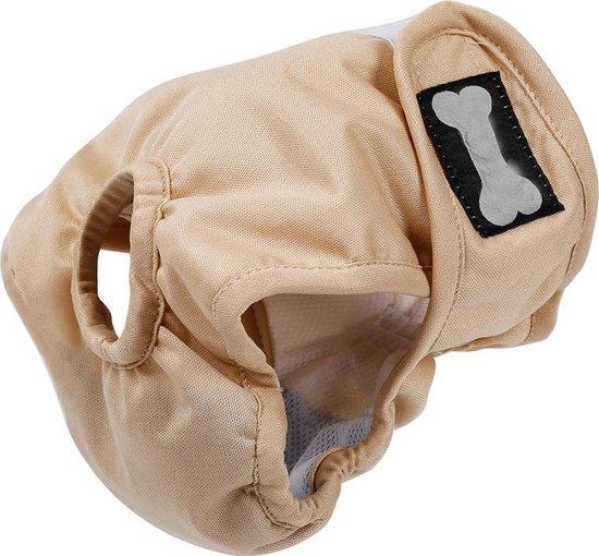 Hondenbroekje - loopsheid - menstruatie - maandstonden of na operatie - wasbaar - BEIGE - LARGE