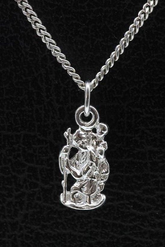 Zilveren Christoffel met stok ketting hanger