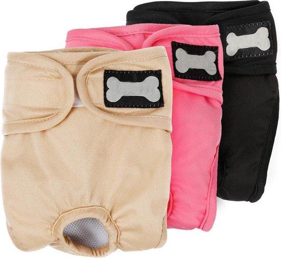 Hondenbroekje - loopsheid - menstruatie - maandstonden of na operatie - wasbaar - ZWART - LARGE