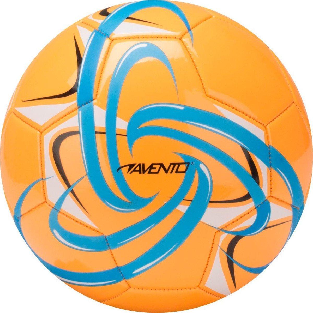 Avento Voetbal Glossy - Fluor - Oranje/Azuurblauw/Zwart/Wit - 5 - Avento