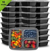 Meal Prep Bakjes - 10 stuks - 3 compartimenten - Lunchbox - Diepvriesbakjes - Vershoudbakjes - Plastic Bakjes Met Deksel - Magnetron Bakjes Met Deksel - Meal Prep - Vershouddoos - 1L - BPA vrij - Fitcrafters