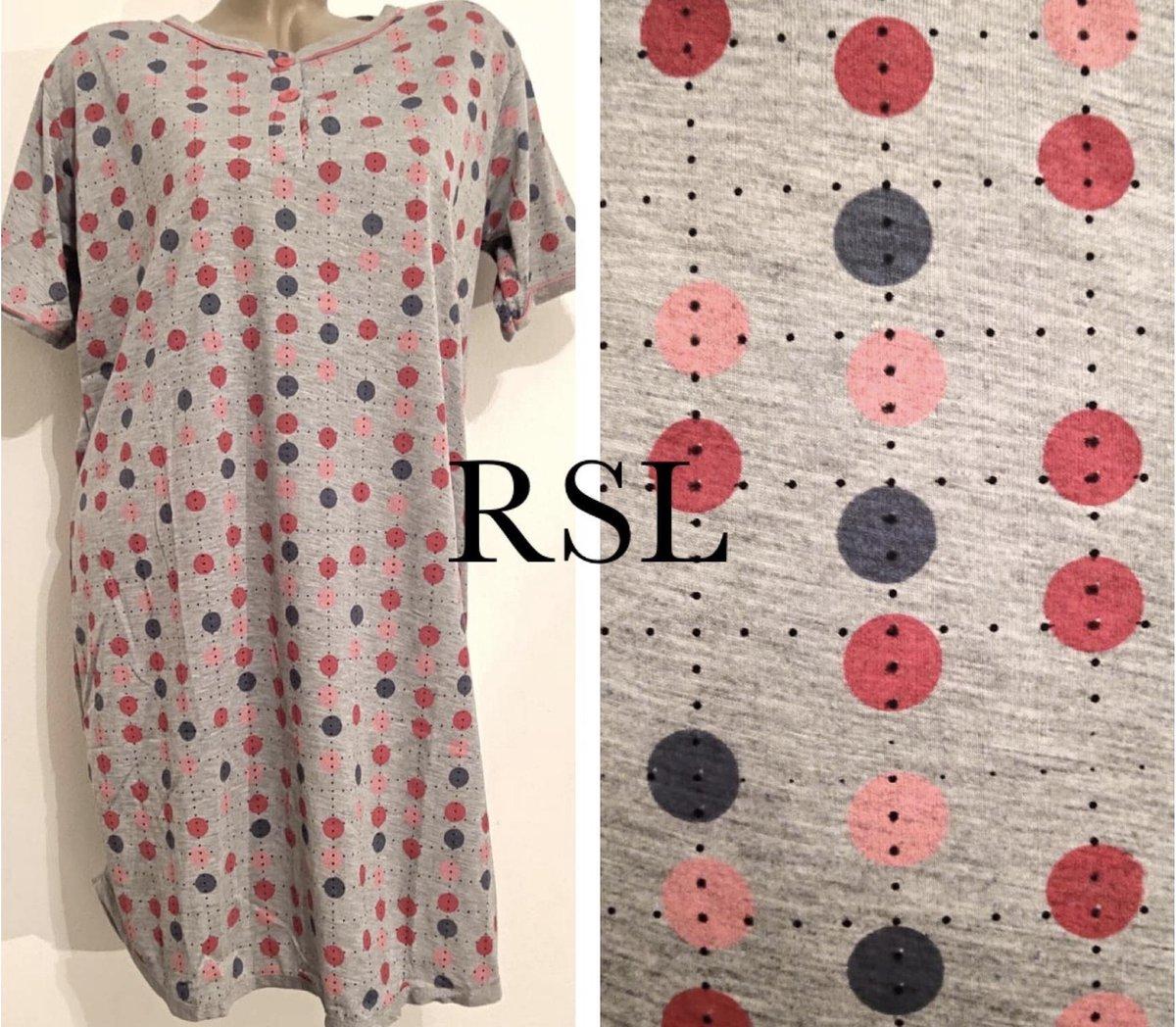 Dames nachthemd korte mouw stippen XXL 44-46 grijs/rood