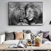 Canvas Schilderij * Paar Knuffelende Leeuwen * - Kunst aan je Muur - Romantisch - zwart wit - 60 x 90 cm