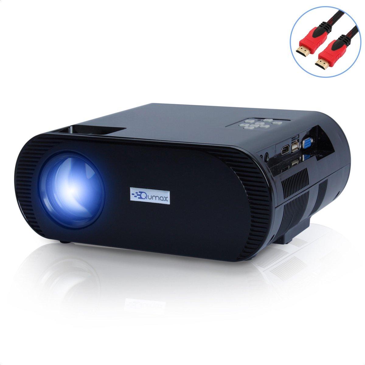 Qumax mini beamer met HDMI kabel - HD projector - Zwart