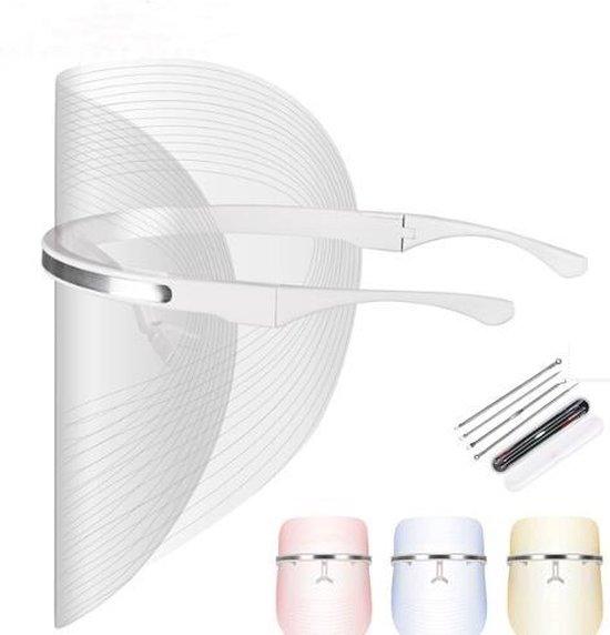 Beauty Goods Lichtgewicht LED Masker | Huidtherapie | Huidverjonging | Vettige onzuivere huid en acne behandeling | Poriën verkleinen | 3 Kleuren |  + GRATIS Mee eters verwijderen set