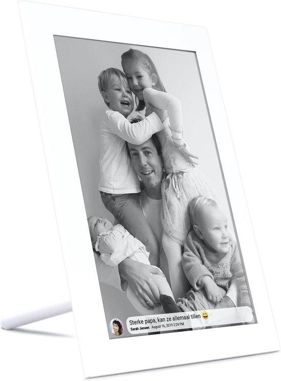 Kiki&Co Wit digitale fotolijst - fotokader - 10.1 inch - Frameo app - HD touchscreen - WiFi