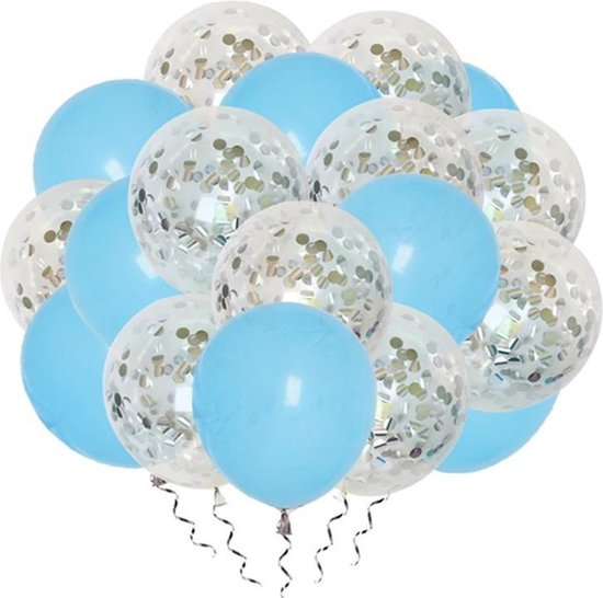 Luxe confetti ballonnen|zilver/lichtblauw|20 stuks|Helium ballonnenset