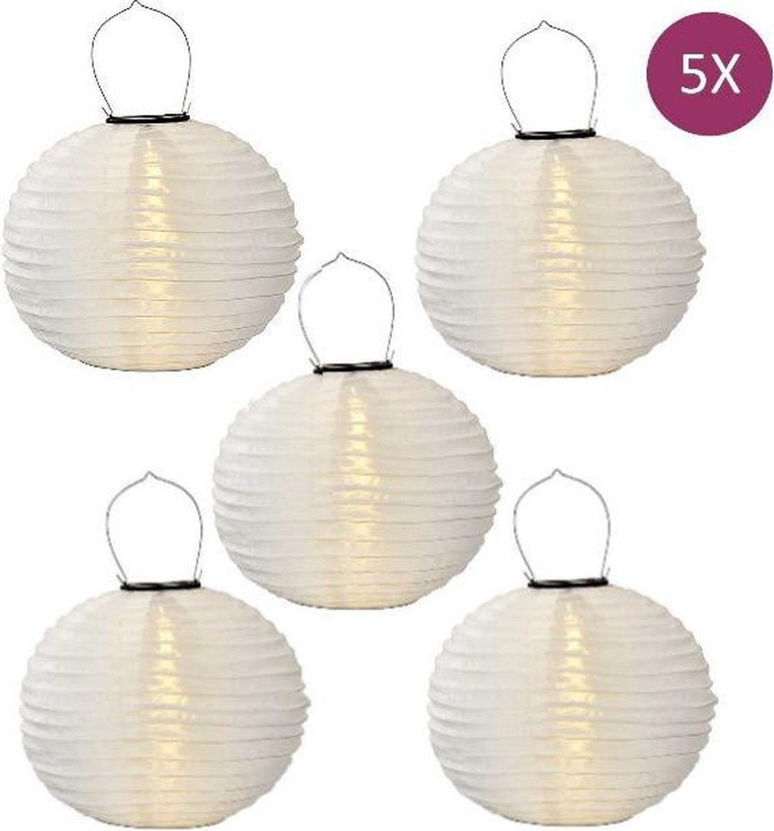 Solar lampionnen wit 35 cm - 5 stuks