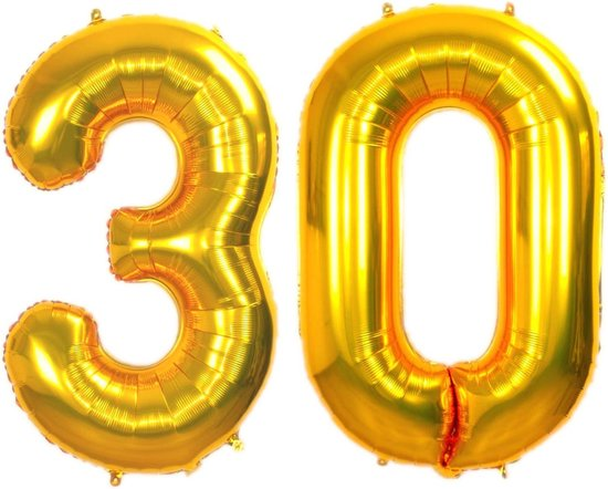 Folie Ballon Cijfer 30 Jaar Goud 86Cm Verjaardag Folieballon Met Rietje