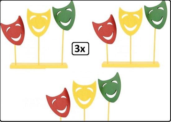 Bol Com 3x Decoratie Plank Met 3 Maskers Op Stok Carnaval Rood Geel Groen Raam Decoratie