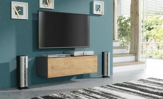 Zwevend Hoogglans Zwart Tv Meubel Flame 1 Lowboard Tv Kast.Tv Meubels Globos Giftfinder
