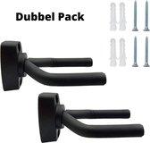 Twee stuks - Dubbel pack - Gitaar Wandbeugel – Muurbeugel – Gitaar standaard – Hanger – Haak – Wandsteun - Guitar Stand – Viool – Basgitaar - Ukelele - muurhaak - Zwart